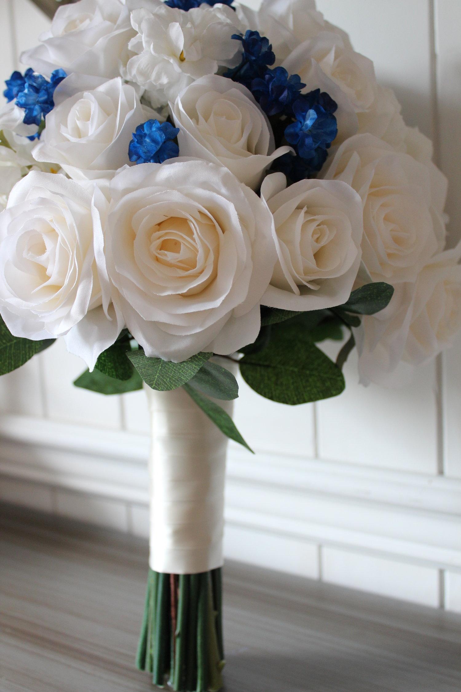 Silk Wedding Bouquet Recreation Navy And Ivory Silk Wedding