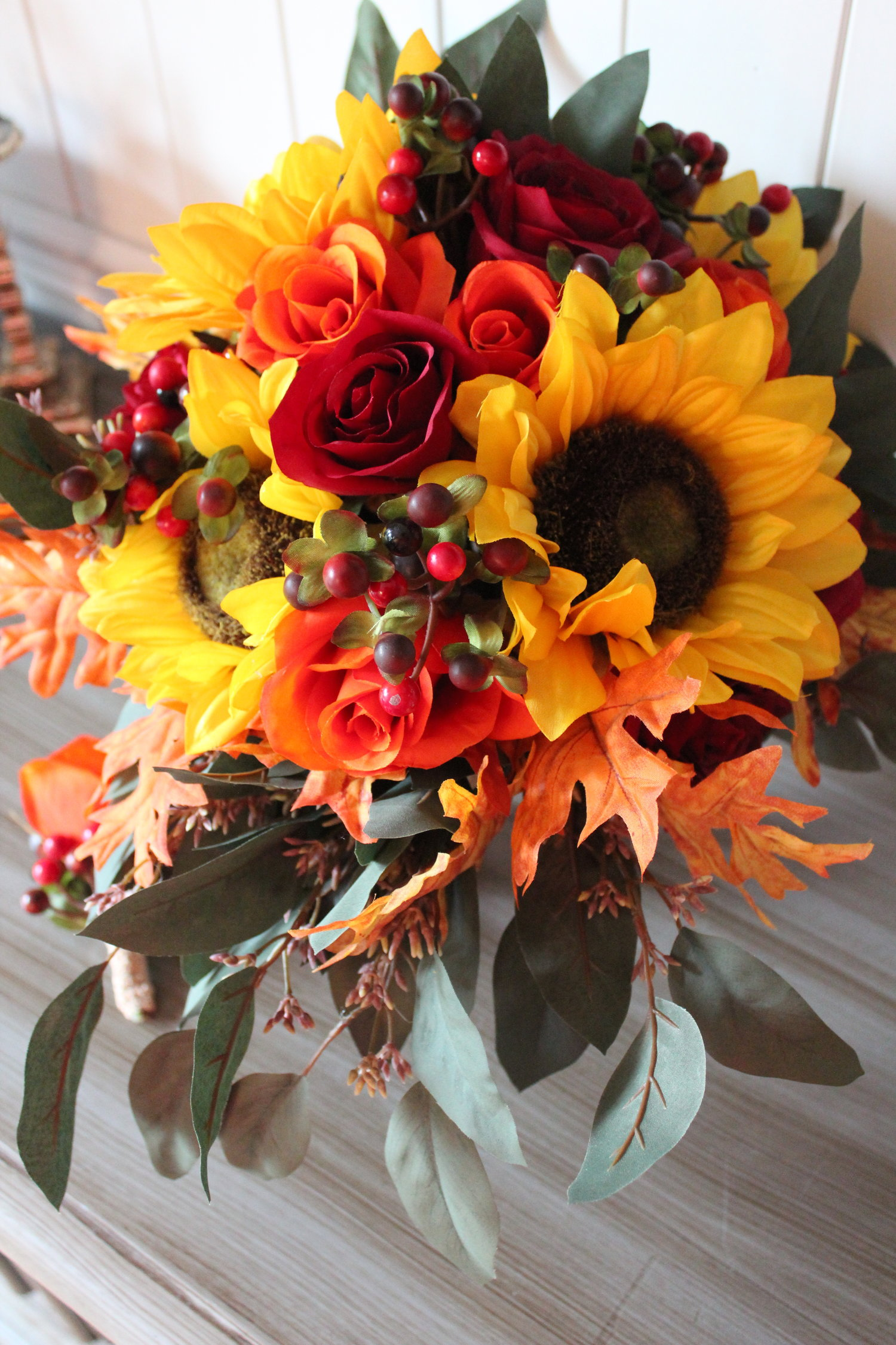 Fall Wedding Bouquet Boutonniere And Cake Topper Recreation In Silk