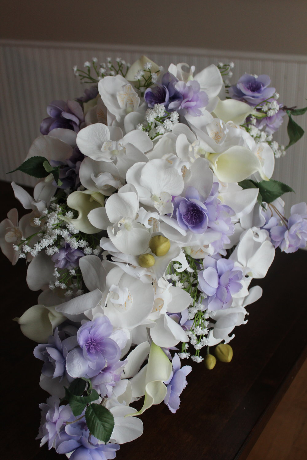 Orchids, Calla Lilies, lilac Blossoms, Baby's Breath
