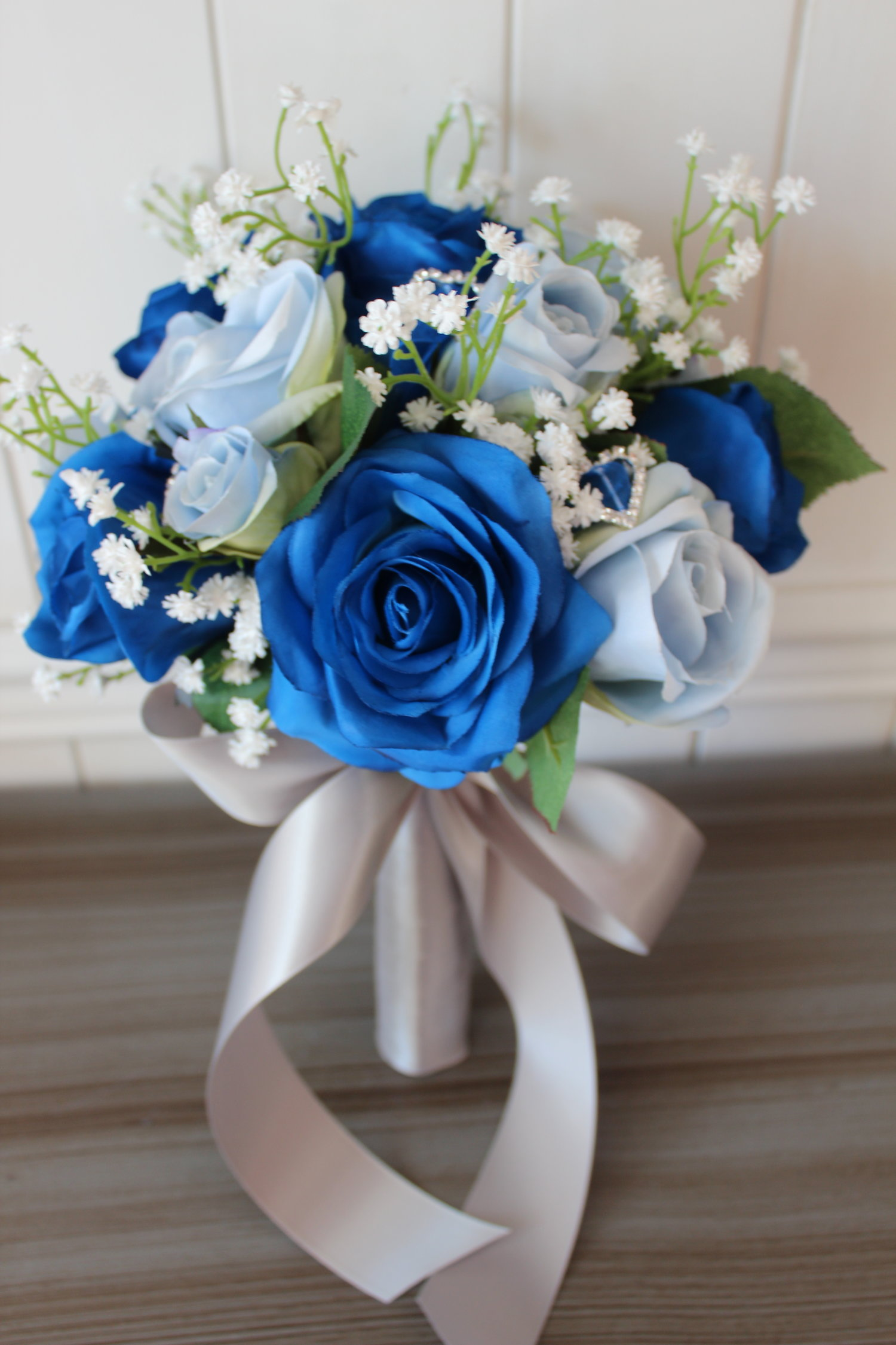 royal blue, light blue and white silk wedding flowers — silk