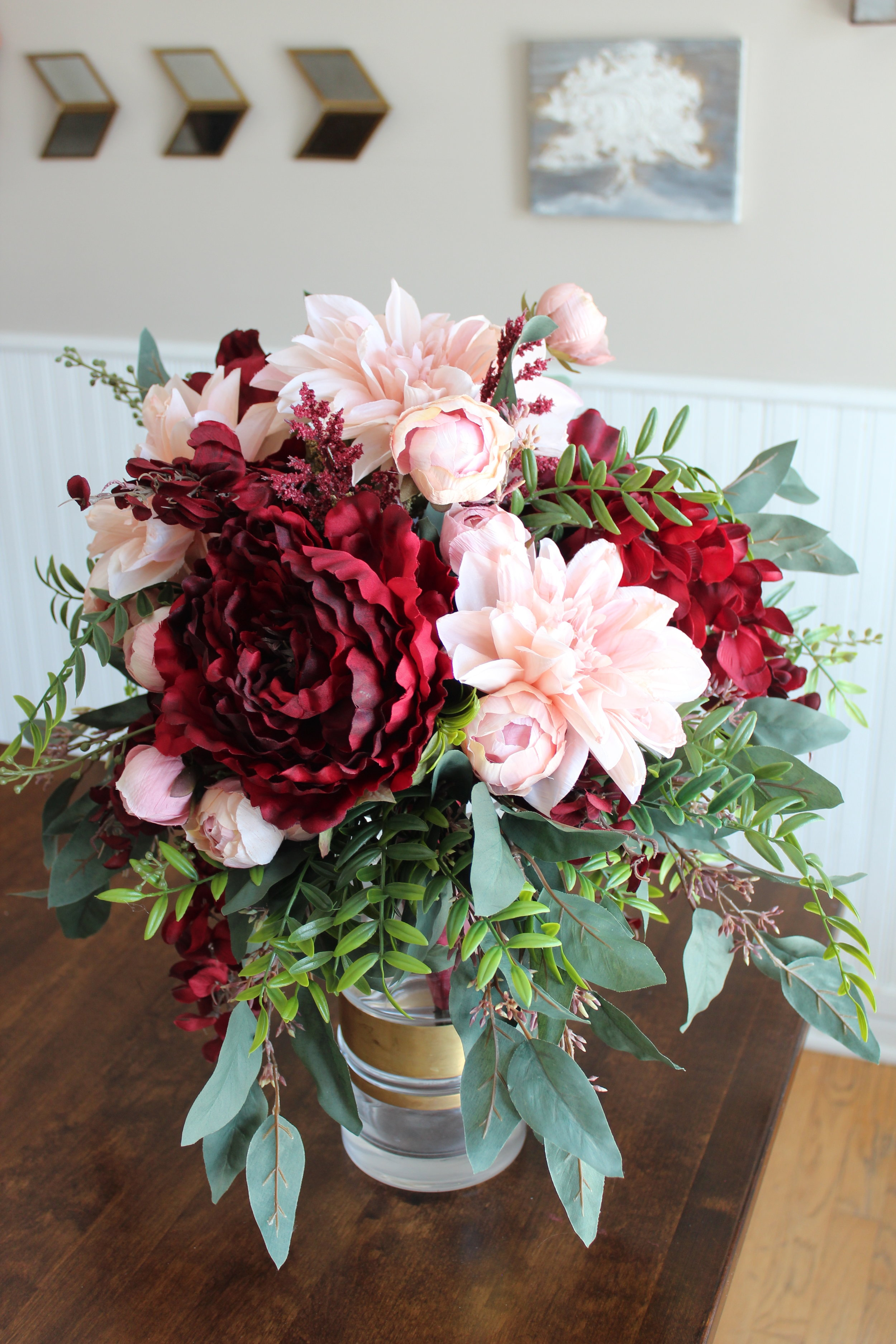 Burgundy Dahlia Blush Peony Cascade Silk Wedding Bouquet Silk Wedding Flowers And Bouquets Online Love Is Blooming