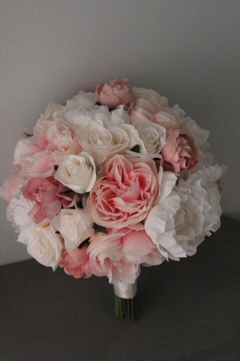 Bespoke Silk Peony Rose and Lambs Ear flower wedding bridal bouquet silk artificial