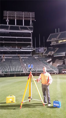 Surveyor using HD 3D Scanning Equipment in the Pleasanton Area.