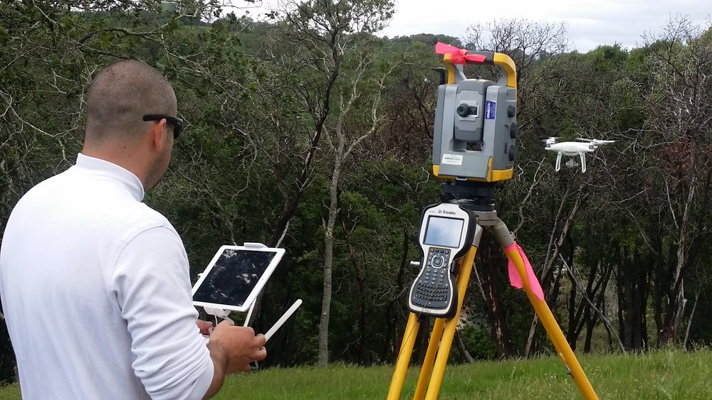 Drone surveyor in flight