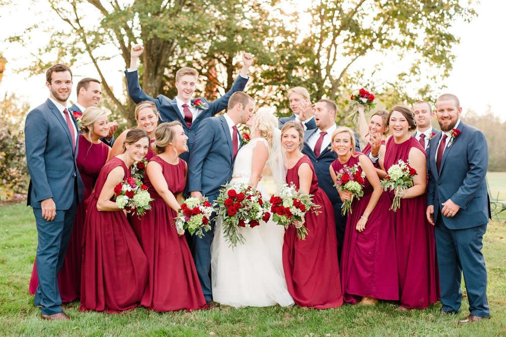 Bridal Party on the Lawn