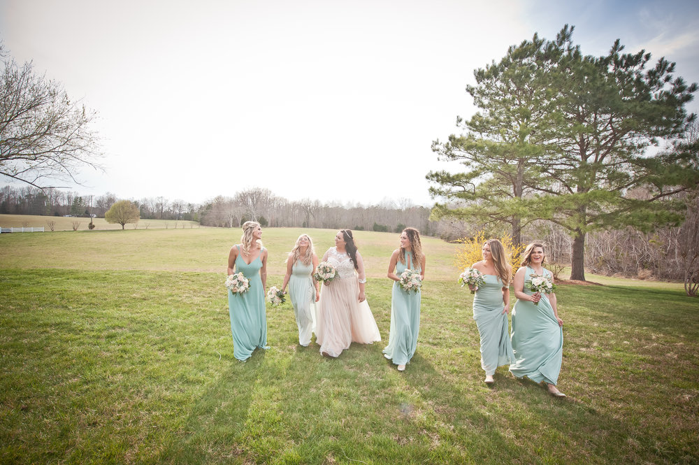 Bride with Bridesmaids on the Lawn