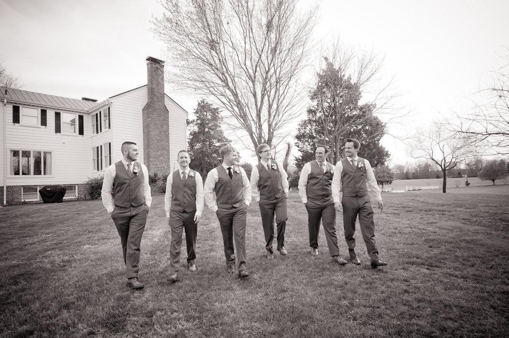 Groomsmen in front of the Estate
