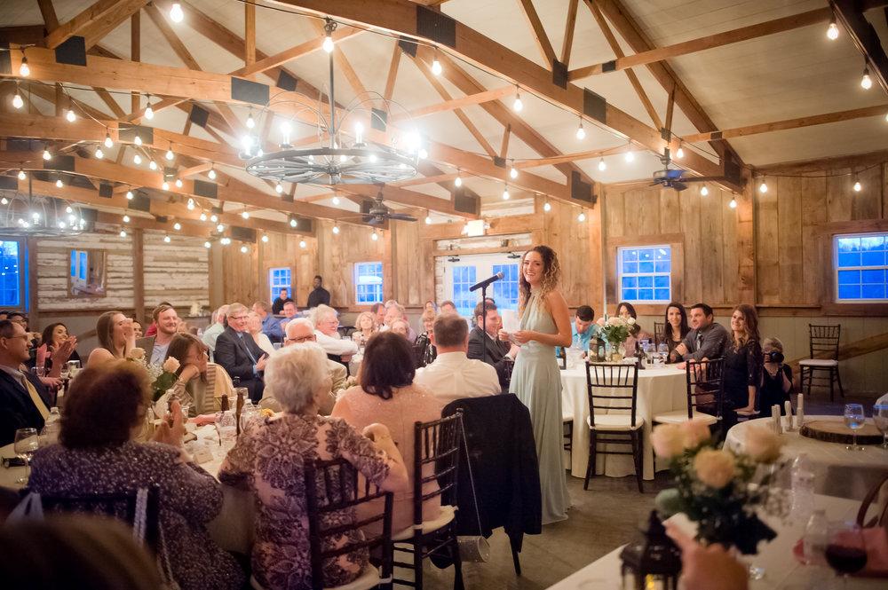 Wedding Reception Toasts in the Barn