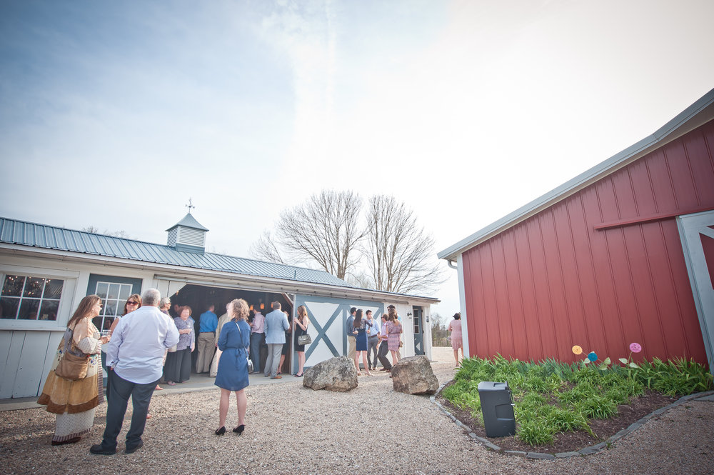 Mingling outside the carriage house.JPG
