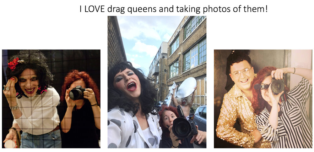 YES - Drag artists and photographers make great friends!! But when there's so many wonderful pictures out there and the queens are so good at documenting themselves - what can you do to be original and interesting?! Why add to the millions of pictures now out there? The world is full of photographers and drag artists... ! I guess my work is as much about the individuals as it is about drag and thats a start - getting closer to them and taking part in their lives... finding out why and how... it's a life long project...