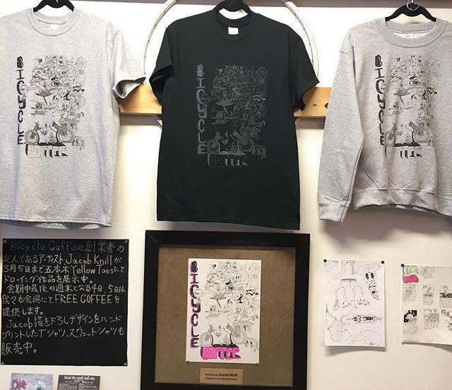 Jacob KnillさんデザインのTシャツとスウェットが虎ノ門で販売スタート!店内にてハンドプリントの為、生産量少なめです。 今週は土日も営業しますのでこの機会に是非ご利用下さーい。 @jacobknillustration  #bicyclecoffeetokyo #bicyclecoffee #jacobknillustration #JacobKnill #screenprinted #handprinted