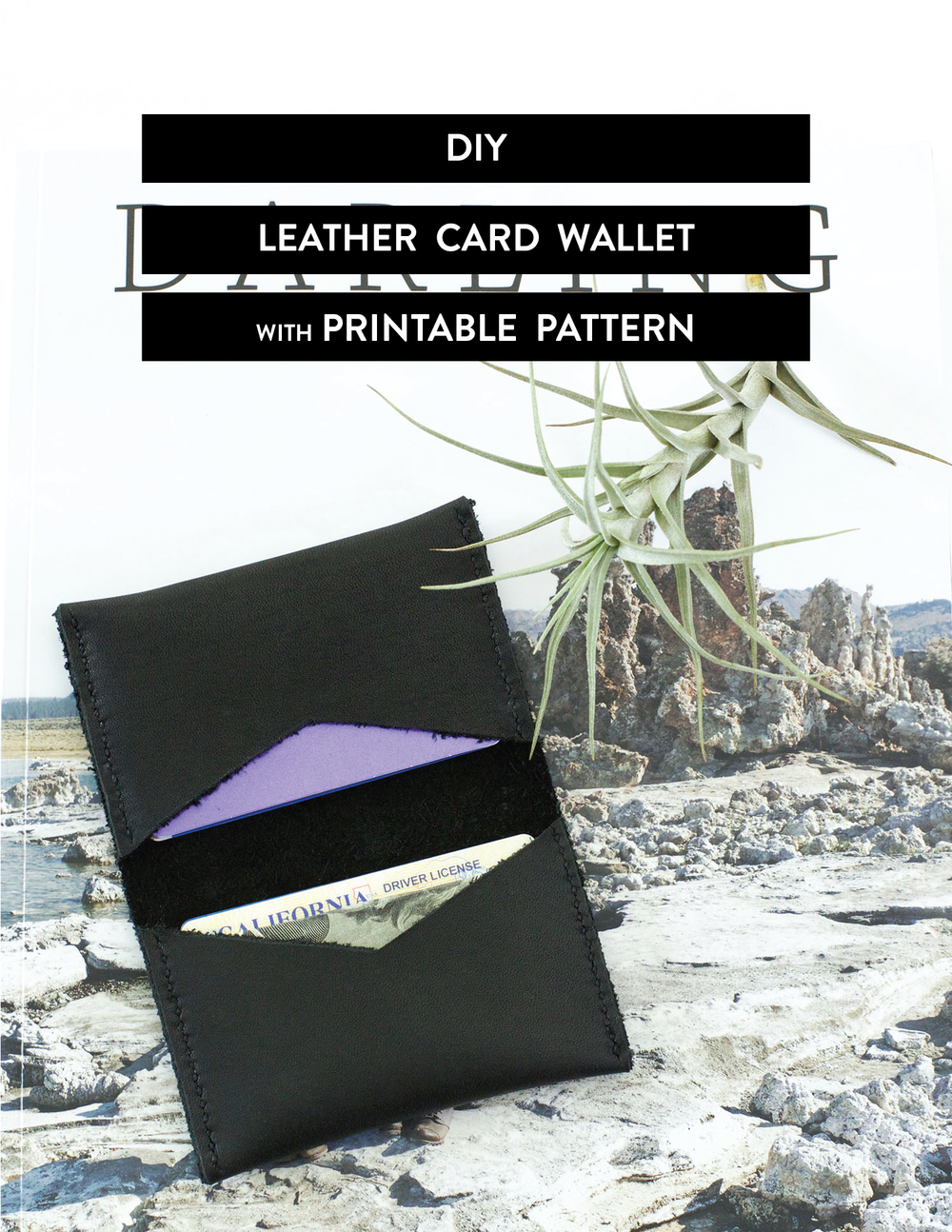 DIY Leather card wallet with free printable pattern. - clothstory.com