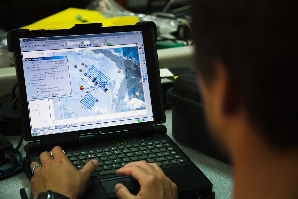 The archival information helps the team plan transects for autonomous underwater vehicles (AUVs). Credit: Andy Isaacson