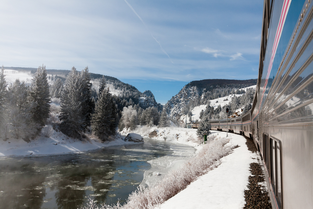 The California Zephyr runs along stretches of the Colorado River. Credit: Andy Isaacson