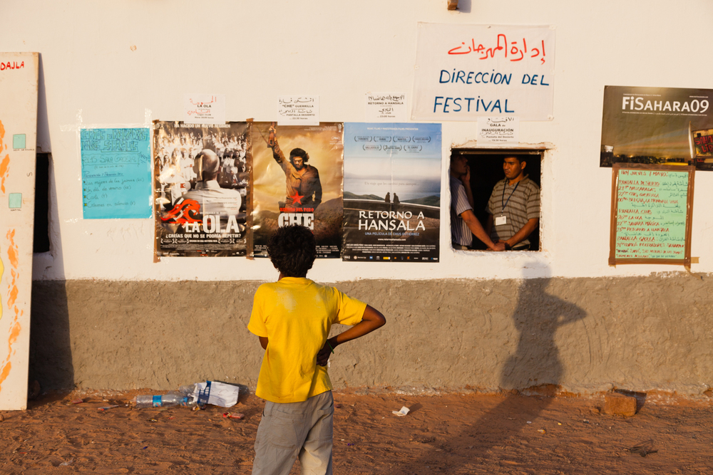 A young boy inspects posters for the Sahara International Film Festival. Credit: Andy Isaacson