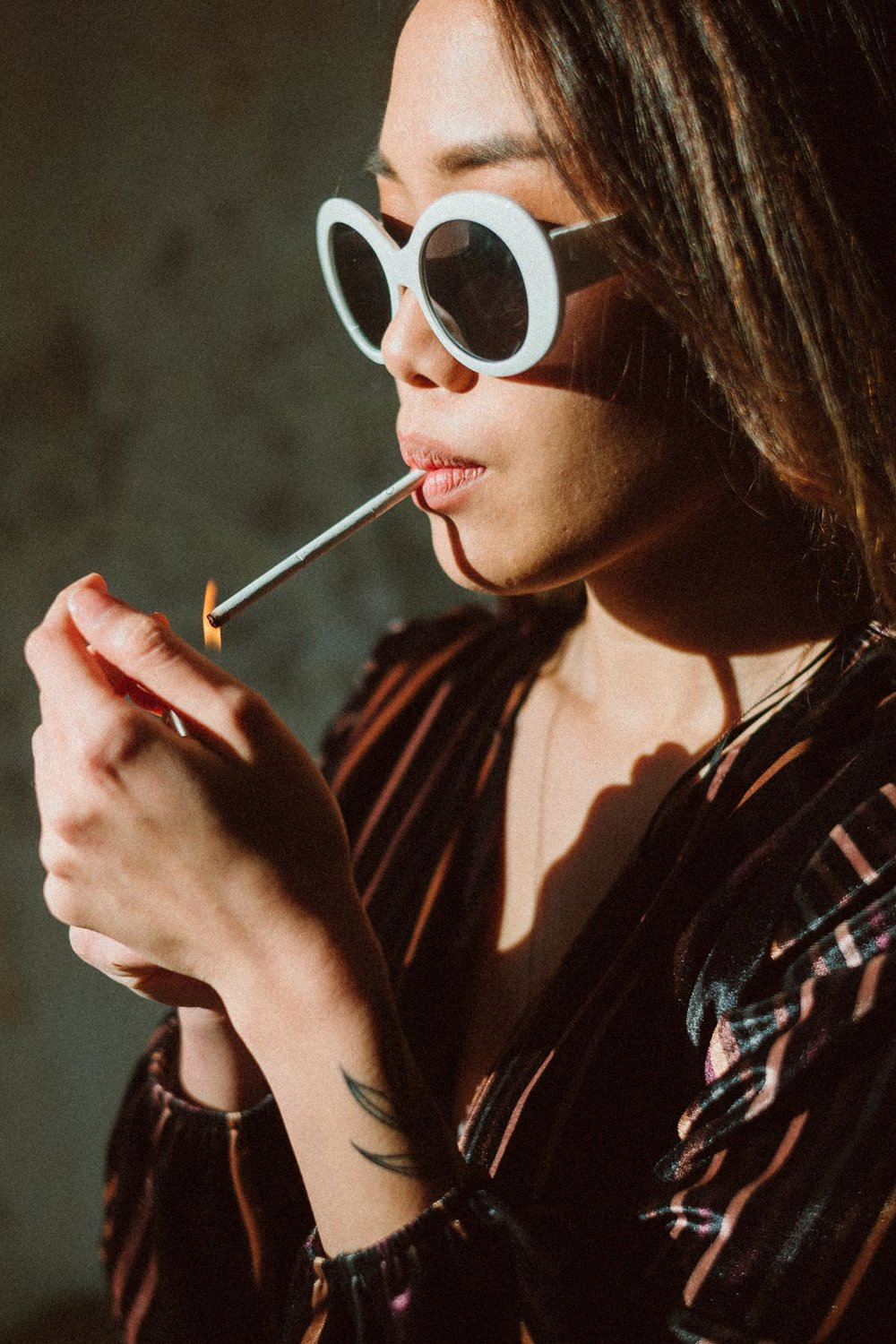 Lili vintage glasses - & a very skinny cigarette