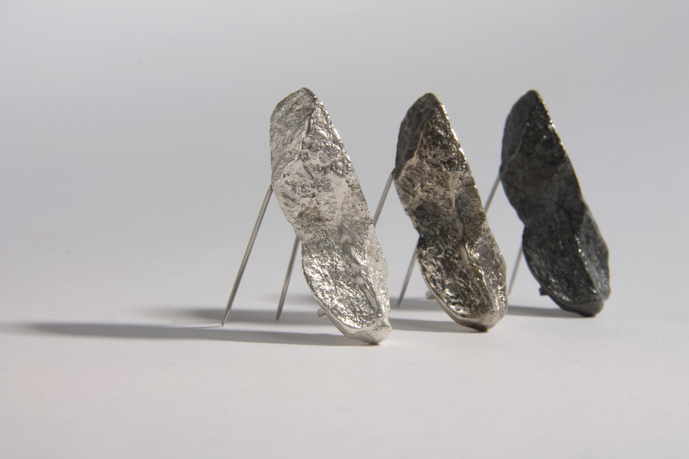 Solid Silver Rock Brooch