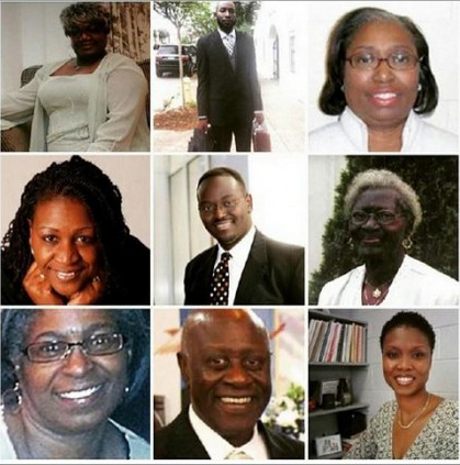 Top Row: Ethel Lee Lance, Tywanza Sanders, Cynthia Hurd Middle Row: Rev. Depayne Middleton-Doctor, Reverend Clementa Pinckney, Susie Jackson Bottom Row: Myra Thompson, Reverend Daniel L. Simmons, Sharonda Coleman-Singleton Source