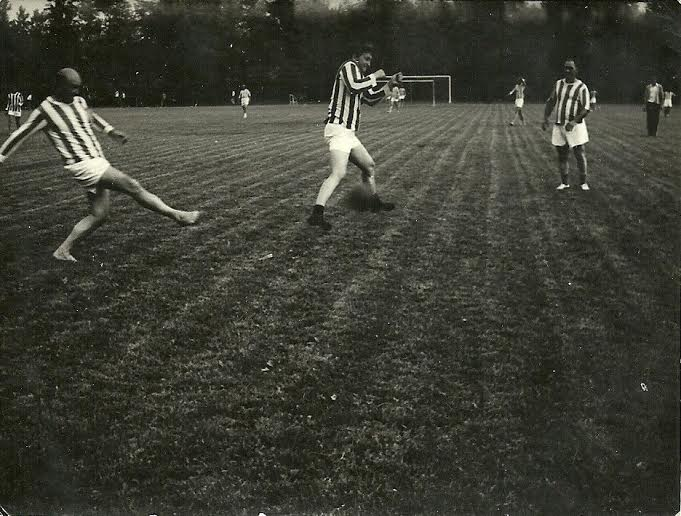 Dunja's grandfather, left, playing soccer. Courtesy: Dunja Kovacevic