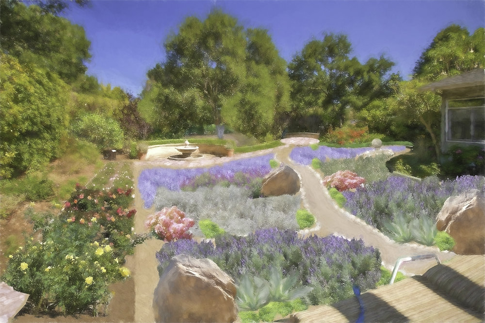 Avantgarden lawn replacement design idea. Process: digital photo of site (see below). Overlay plant sections, path pix. Watercolor look added.
