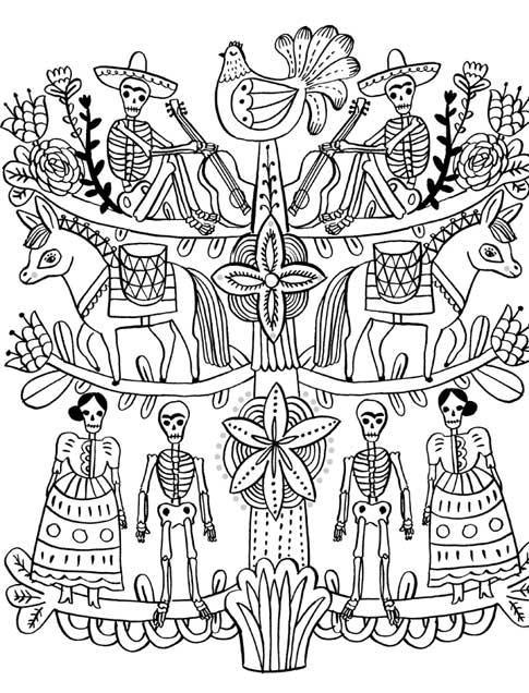 day of the dead 4jpg - Dia De Los Muertos Coloring Book