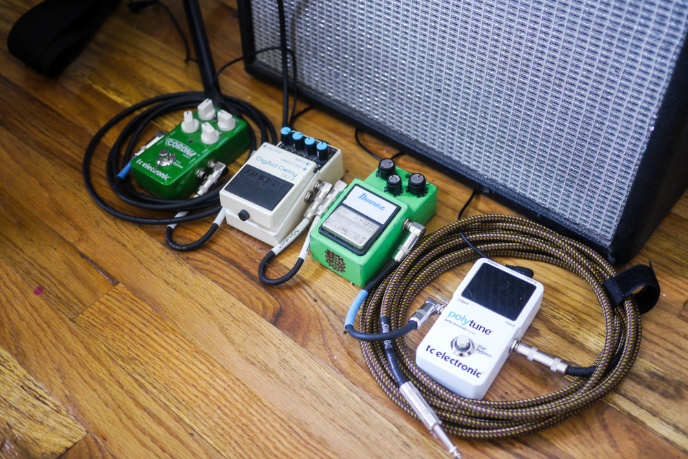 Lindsey's Pedals from Left to Right: Corona Chorus Effect, Boss Digital Delay, Ibanez & Polytune Tc Electronic.