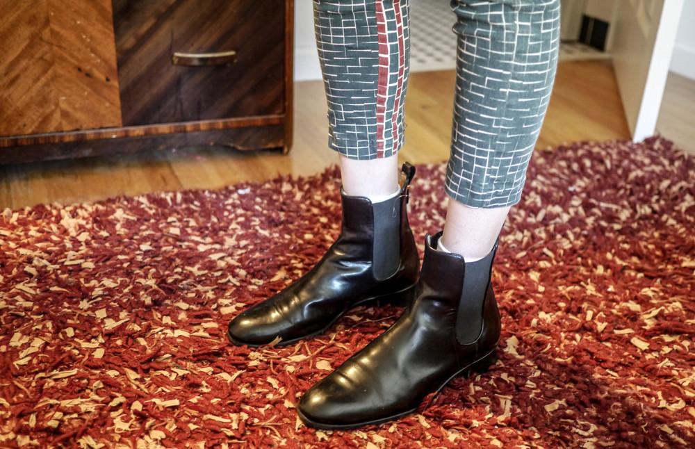 Pants, W118 by Walter Baker; Boots, Ferragamo
