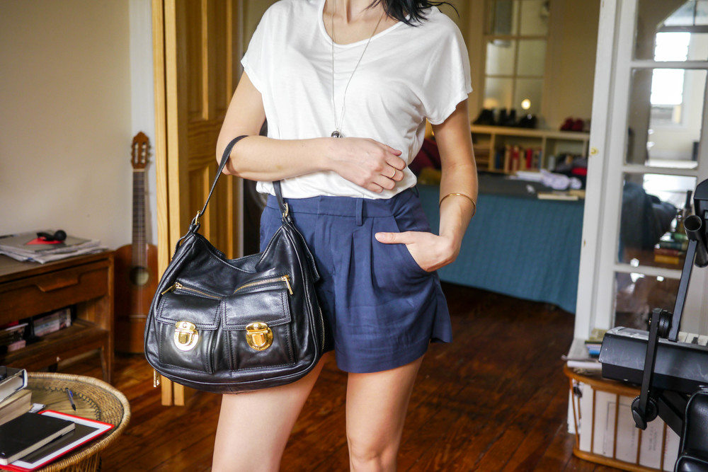 Top & Necklace by & Other Stories ; Shorts, Uniqlo ; Bag, Marc Jacobs (For Sale)