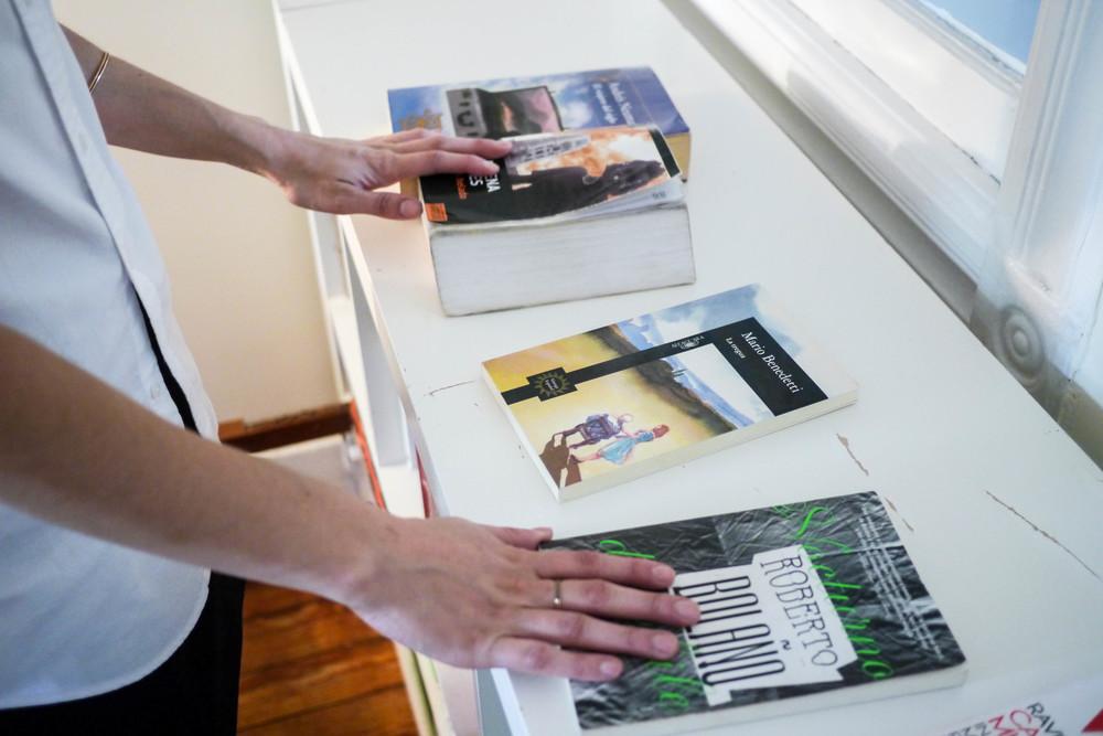 Anita's Favorite books from left to right:El Viajero Del Siglo by Andres Neuman ;El Corazon Heladoby Almudena Grandes ; La Tregua by Mario Benedetti &Nocturno de Chile by Roberto Bolano