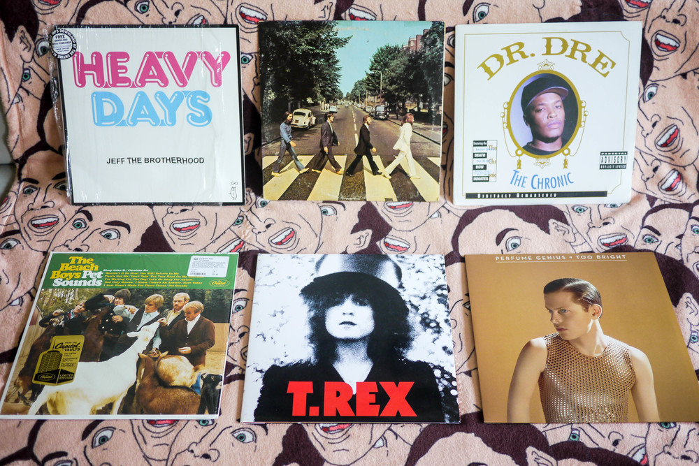 Lexi's favorite records clockwise from left: Jeff The Brotherhood 'Heavy Days' ; The Beatles 'Abbey Road' ; Dr. Dre 'The Chronic' ; The Beach Boys 'Pet Sounds' ; T.Rex 'The Slider' ; Perfume Genius 'Too Bright'.