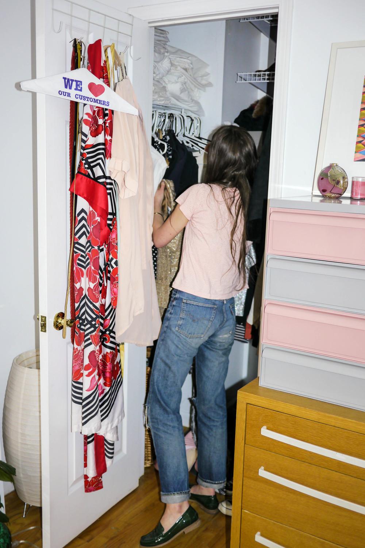Top, APC ; Jeans, Levi's 501 ; Shoes, Marais