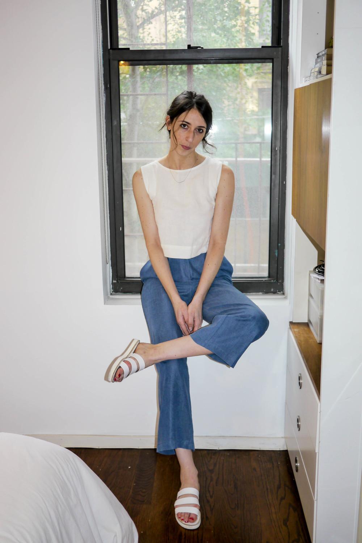 Top, Vintage ; Pants, Ilana Kohn