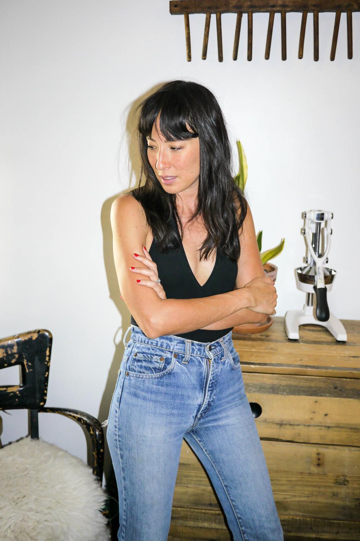 Bodysuit, American Apparel ; Jeans, Vintage Levi's
