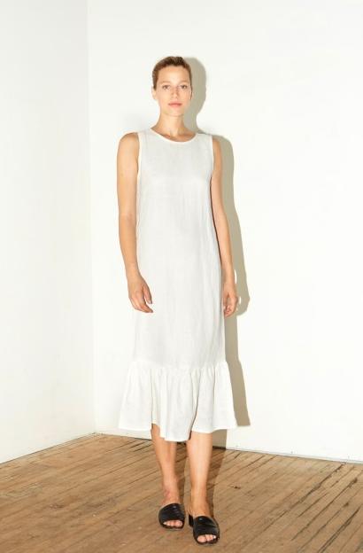 Datura White Linen Carmen Dress
