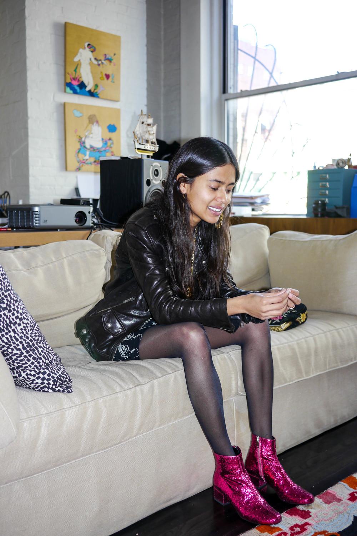 Outfit Details: Dress &  Shoes, Saint Laurent;  Jacket, Iro