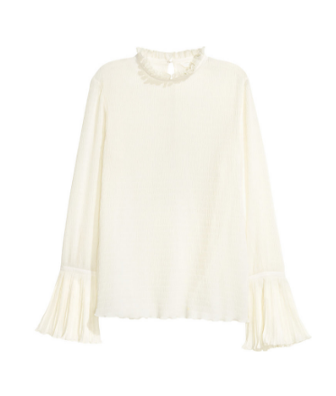H&M - BLOUSE WITH TRUMPET SLEEVES - NATURAL WHITE - LADIES