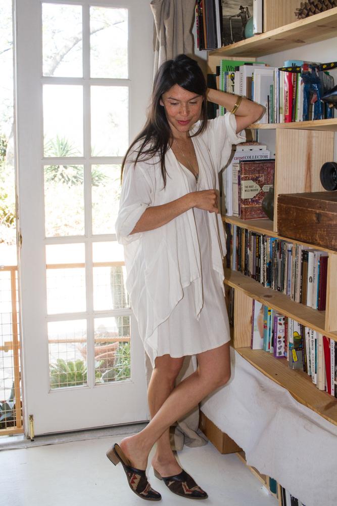 Dress, Elizabeth Suzann ; Sweater, Vintage ; Shoes, Vintage