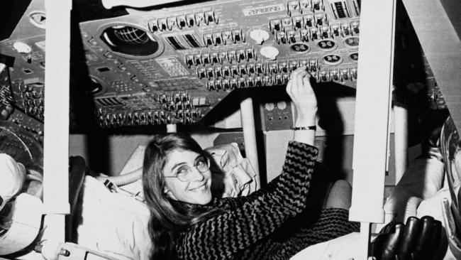 Margaret In A Mock-Up Of Apollo Command ;  Image Courtesy of The LA Times
