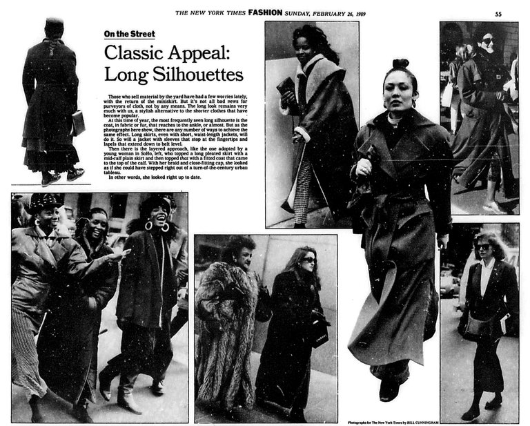 """Classic Appeal, Long Silhouettes,"" Feb. 26, 1989 ; Image Courtesy of The New York Times"