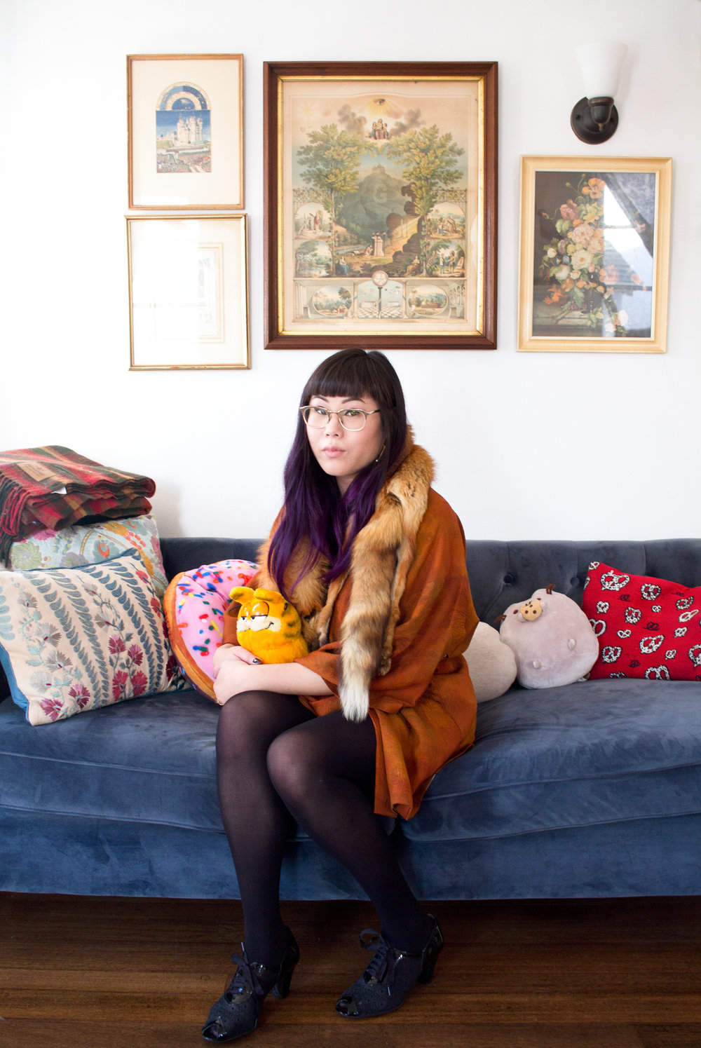 Fox Fur Cardigan, Victory Girl Vintage  ;  Sofa, World Market