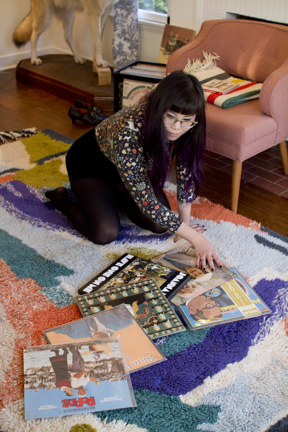 Jordan's favorite records ;  Rug, Anthropologie