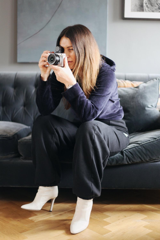 Velvet Sweatshirt, Vetements ; Trackpants, Vetements ; Boots, Tamara Mellon