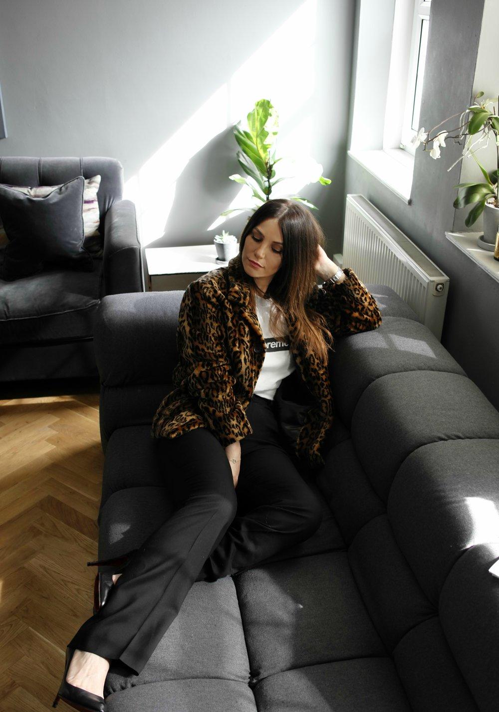 Faux Fur, Supreme ; Top, Supreme ; Pants, Balenciaga