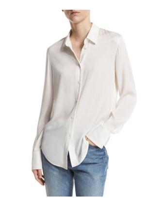Vince slim-fit stretch silk blouse