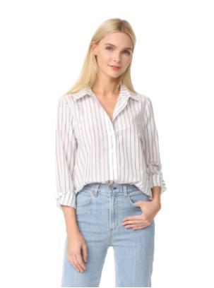Jenni Kayne White Striped Silk Boyfriend Shirt