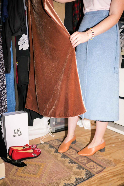 Top, Everlane ; Skirt, Defina Balda ; Shoes, Gray Matters ; Bracelet, Roxanne Assoulin