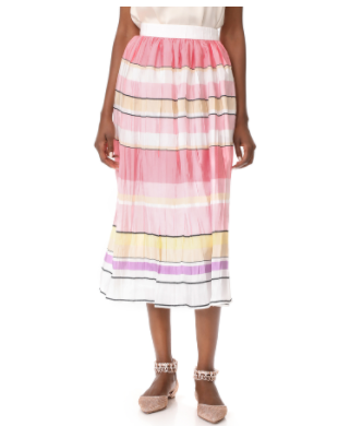Monique Lhuillier striped midi skirt