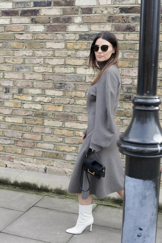 Dress, Balenciaga ; Bag, Saint Laurent ; Boots,Tamara Mellon ; Sunglasses,Celine