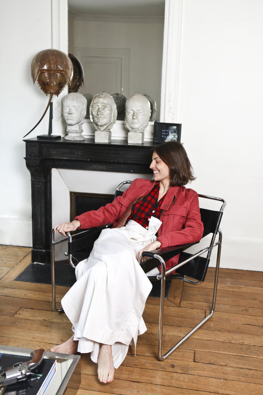 Outfit Details: Top, Mens Vintage ; Jacket,DA/DA collection FW17 (coming soon) ;  Skirt, DA/DA ; Chair,Marcel Breuer