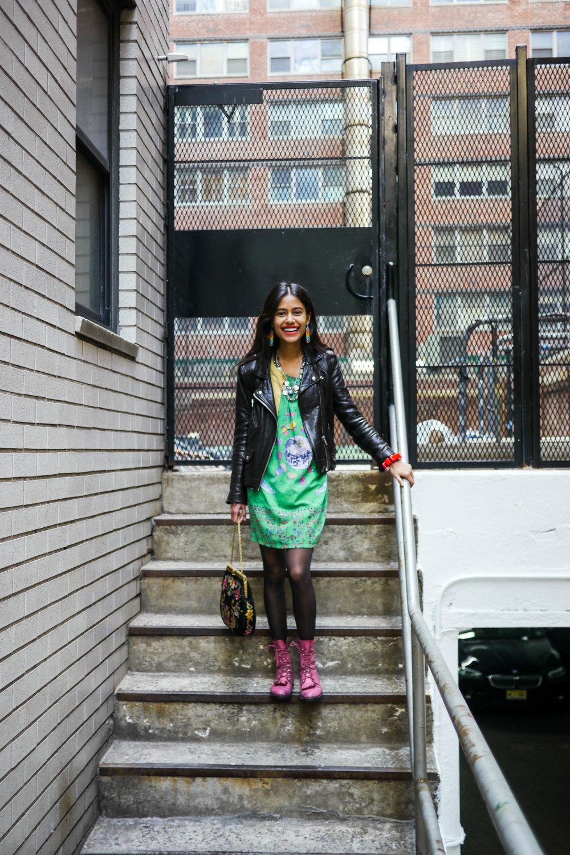 Streetstlye Details:Dress & Bag, Vintage ;   Jacket, IRO   ; Shoes, Saint Laurent ;   Earrings & Necklace, Arpana Rayamjhi